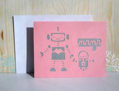 Mothers Day Card, Cute Robot, Die Cut, Handmade