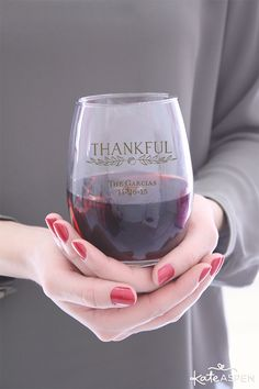 Give thanks to your guests with a personalized Thanksgiving wine glass by Kate Aspen. These beautiful glasses can be customized for your event and pair perfectly with our Thanksgiving table decor for a festive fall gathering.