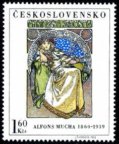 Stamp: Princess Hyacinth, by Alfons Mucha (Czechoslovakia) (Art) Mi:CS 1732 Art Nouveau Mucha, Art Nouveau Poster, Art Deco Posters, Alphonse Mucha, Illustrator, Rare Stamps, Postage Stamp Art, Stamp Catalogue, Small Art