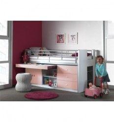 Lit enfant combiné avec bureau coulissant BYBLO coloris rose clair et blanc