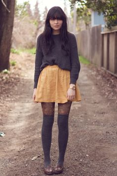 fisherman's sweater c/o american apparel...mustard skirt c/o urban outfitters...floral tights c/o anthropologie