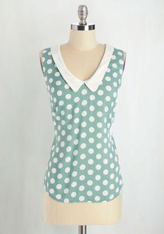 Summer Book Club Top in Mint - Green, White, Polka Dots, Peter Pan Collar, Casual, Vintage Inspired, 60s, Sleeveless, Collared, Green, Sleeveless, Mid-length, Spring, Top Rated