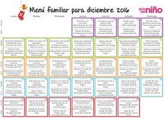 Menú mensual para niños para diciembre de 2016 - Menú mensual para niños - Alimentación - Guia del Niño Lunch Count, Menu Dieta, Kids Menu, Weekly Menu, Planner Organization, School Lunch, Food Preparation, Organic Recipes, Baby Food Recipes