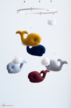 Whales Mobile-Wool Felt Baby Mobile-Gray Blue Mustard Neutral Pastel Nursery-Nautical Minimalistic Scandinavian Modern Nursery Mobile