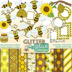 Bizzy School Bees Clipart, Frames, Badges & Paper - Spring Honey Bees! #tpt #clipart #spring #honeybee