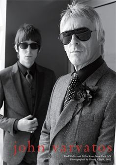 Fall's Heroes-Danny Clinch photographs musicians Paul Weller and Miles Kane for John Varvatos' fall/winter 2012 campaign, shot in the Lower East Side, New York. John Varvatos, Paul Weller, Ray Ban Sunglasses Sale, Sunglasses 2016, Ray Ban Outlet, Mod Fashion, Fashion Rocks, Sporty Fashion, Fashion Women