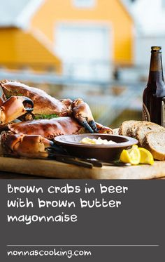 """Brown crabs in beer with brown butter mayonnaise   """"One of my favourite Scandinavian food traditions is the Norwegian Krabbefest. In the summer, the waters around Bergen teem with hundreds of thousands of delicious brown crabs, and the people of Bergen like nothing better than pulling a few out of the water at their summer houses on the water, cooking them up, and washing them down with plenty of cold beer. It's paradise.""""Adam Liaw,Destination Flavour Scandinavia"""