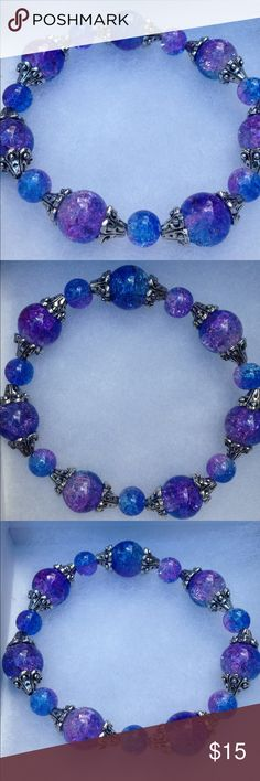 """Blue and Purple Sparkling Glass Stretch Bracelet This beautiful bracelet is made with sparkling blue and purple glass beads. Made with high quality elastic, this piece will stretch to fit up to an 8"""" wrist.   All PeaceFrog jewelry items are handmade by me! Let me know if you need a different size. Take a look through my boutique for coordinating jewelry and more unique creations! PeaceFrog Jewelry Bracelets"""