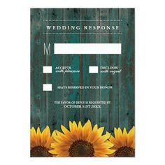 Wood Wedding RSVP Cards Turquoise and Brown Sunflower Wedding RSVP Cards