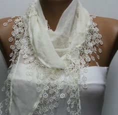 Creamy  White Scarf  - Cotton  Scarf -  Cowl with Lace Edge   - Fatwoman Scarf Shaw  www.etsy.com/shop/fatwoman