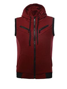 78e1ea651bc Allegra K Men Kangaroo Pocket Zip Up Drawstring Hooded Vest UXCELL (U excel  !) is the sole authorized Seller of Allegra K products Zip Up