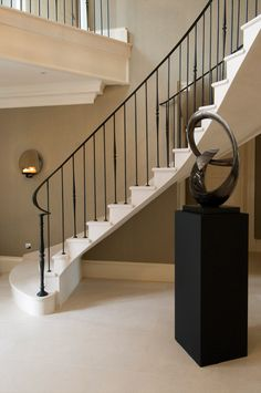 Modern Expresso Stair Railing With Iron Spindles Grey