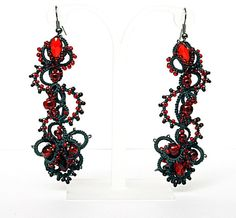 Dangle Tatted Earrings Spain Tatting Lace Jewelry in black and red by DASH Art Studio