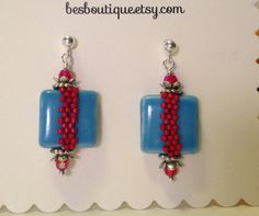 Red Turquoise Drop Earrings ceramic beads Swarovski by besboutique