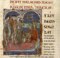 Fol 93 : détail. le vieux  roi David accueillant  une jeune sunamite.http://www.bn-limousin.fr/items/show/2913