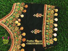 Best Blouse Designs, Maggam Work Designs, Saree Blouse Patterns, Orange Blouse, Work Blouse, Coins, Blouses, Rooms, Blouse