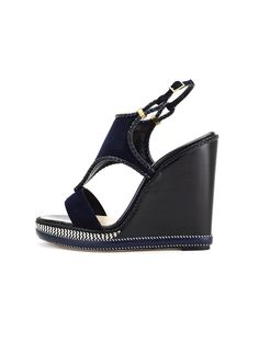 Oscar de la Renta - Navy Suede and Leather Matida Wedge Sandals