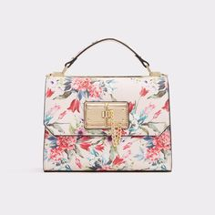 Kairede This floral satchel, with magnetic snap closure and gold detailing, is glamorous and versatile. Hold by the handles or attach the optional matching shoulder strap, options are everything. Quebec, Best Bags, Cute Purses, Backpack Purse, Cute Bags, Luxury Bags, Online Bags, Beautiful Bags, Handbag Accessories