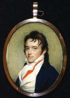Thomas Pinckney II, son of General Thomas Pinckney, and grandson of Col. He was married to Elizabeth Izard (see her portrait). Painted by Edward Greene Malbone 1801 watercolor on ivory. Gibbes Museum, Charleston, S. Jane Austen, Miniature Portraits, Miniature Paintings, Regency Era, Empire Style, Old Master, Historical Clothing, Painting & Drawing, Thing 1