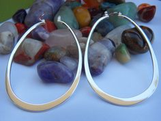 925 Sterling Silver plated Long Oval Everyday by PinelopiTreasures, $19.99