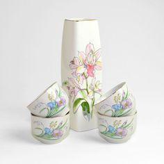 #Vintage #Japanese #Japan #Porcelain #Vase & #Teacup #Breakfast Nook Set #Elegant #Watercolor Style, #Floral #Lily - #Easter or #Gift for #Mom by OneRustyNail on #Etsy