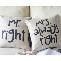 Ikea Couple Mr.Right+Mrs.Always Right One Pair Sofa Car Pillow Cover W/O Insert