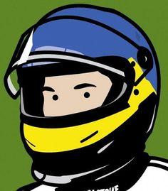 Jacques racing driver (with helmet), 2002 © Julian Opie