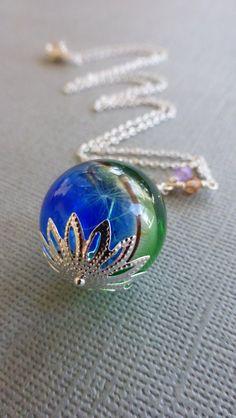 Dandelion seed necklace in sterling silver  by DancingEyeJewels