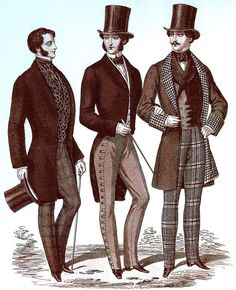 1850 - In contrast to t 1840's, t 1850's reflected a preference f bolder styling  seen in frock coats w wider lapels & looser cuts. Waistcoats became fancier w bold patterns & metal buttons. In t early part of t decade, gentlemen wore extravagant, heavily starched, assymetrically tied cravats, which subsided later in t decade. At t beginning of t decade many gentlemen wore their hair parted on t side styled w an extreme frontal wave on top, but once again this subsided toward t end of t…