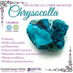 Beautiful #Chrysocolla #crystals are wonderful for a list of things including #anxiety, #depression, #confidence, and #serenity.