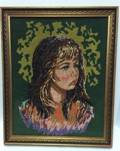 Beaded Needlepoint Girl With a Tear Lev Dokor Finished Framed inches