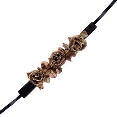 Golden Steampunk Rose Trim Collar (Gold)