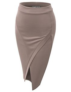 TOMSON Women's Basic Asymmetrical Slim Pencil Skirt * Learn more by visiting the image link. Pencil Skirt Casual, Pencil Skirt Outfits, High Waisted Pencil Skirt, Pencil Skirts, Pencil Dresses, Beige Pencil Skirt, Moda Peru, Pencil Skirt Tutorial, Office Skirt