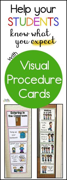 Help your Students Know What You Expect with Procedure Cards Do you students know what you expect of them? Visual procedure cards help students learn and practice the routines you have in your preschool classroom that keep everyone safe. Preschool Procedures, Preschool Classroom Schedule, Classroom Procedures, Classroom Behavior, Autism Classroom, Preschool Classroom Management, Preschool Rules, Preschool Science, Classroom Organization