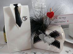 White Silk Tuxedo Box with White Silk Handbag Favour Box