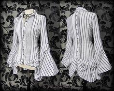 Victorian White Grey Stripe Hitch Bustle Shirt 8 10 Steampunk Poet Mistress Goth | THE WILTED ROSE GARDEN