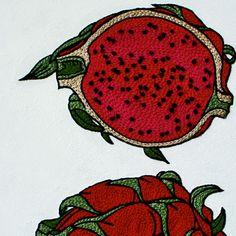 dragon fruit embroidery by YUMIKO HIGUCHI
