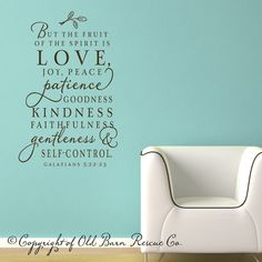 The fruit of the Spirit - Vinyl Wall Decal scripture lettering art design word sticker