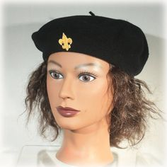 Black Wool Basque Beret Made in South Africa by JunkboxTreasures