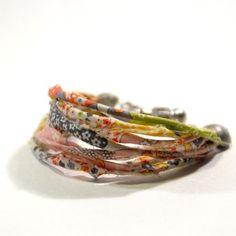 Multi-strand Liberty fabric bracelet ~ Papermode