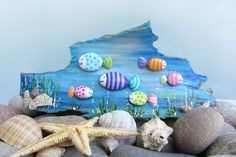 wall decoratin - rocks art - made with old Painted wood and stones