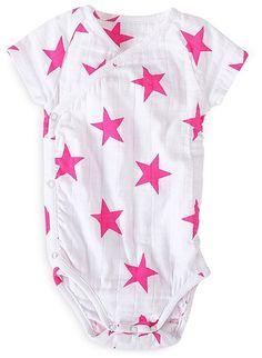 Aden + Anais Infant Girls' Star Print Kimono Bodysuit - Sizes 0-12 Months