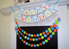 Happy Birthday banner garland set, Monsters Inc theme birthday, monster birthday decoration, little monster 1st birthday banner Tiny Monster