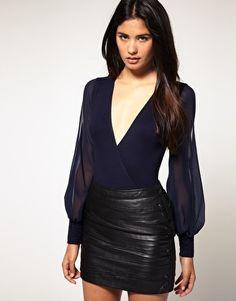 ASOS Chiffon Sleeve Wrap Bodysuit - StyleSays