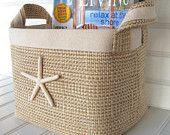 Brown Tweed Coastal Fabric Storage Basket with Sea Star.