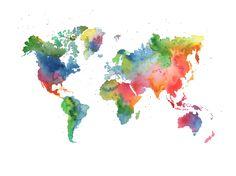 Wall mural Rainbow World World Map Mural, Water Color World Map, Wall Maps, Wall Mural, Color Effect, Reception Areas, Watercolor Print, Kids Decor, Art World