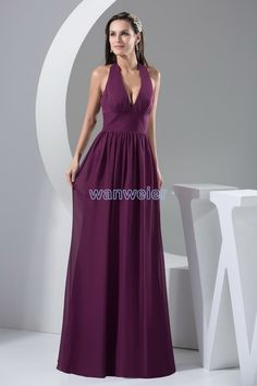 V-neck Halter Plus Size Floor Length Purple Chiffon Bridesmaid Dress With Shirring(ZJ6243)