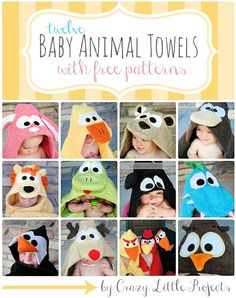 Baby Animal Towel Tutorials by Crazy Little Projects. What a fun baby shower gift! #hoodedtowels