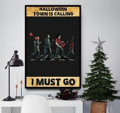 Horror characters halloween town is calling poster Halloween Wall Decor, Halloween Town, I Salute You, Animal Posters, You Are Awesome, Amazing, Poster Wall, Weird, Horror