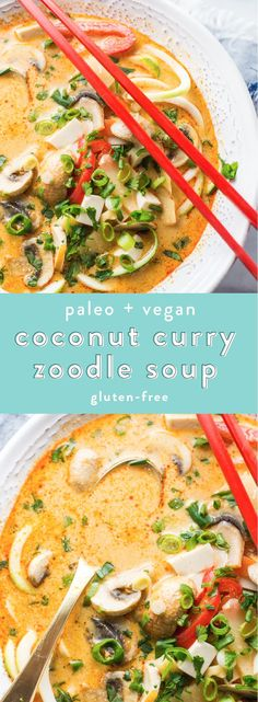 This paleo coconut curry zoodle soup is quick and delicious loaded with creamy coconut milk intensely flavorful red curry paste and zoodles. This recipe is a wonderful paleo dinner or paleo soup recipe to add to your collection. Low carb yet filling y Paleo Soup, Paleo Curry, Low Carb Curry, Whole Food Recipes, Vegetarian Recipes, Cooking Recipes, Healthy Recipes, Cooking Games, Vegan Recipes